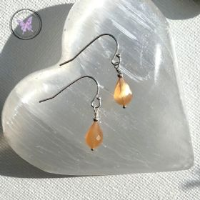 Faceted Peach Moonstone Drop Earrings